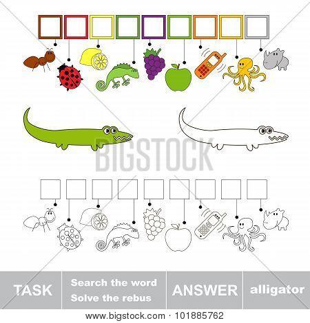 Find hidden word alligator.