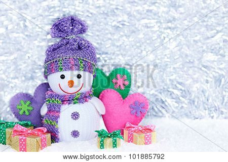 New Year 2016. Happy Snowman, party decoration, gift boxes