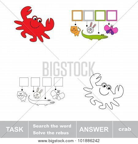 Solve the rebus. Find hidden word crab.