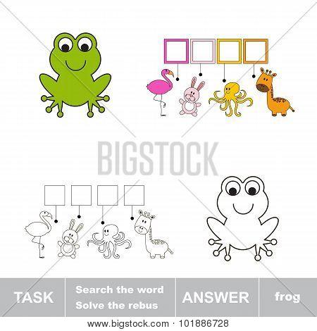 Solve the rebus. Find hidden word frog.