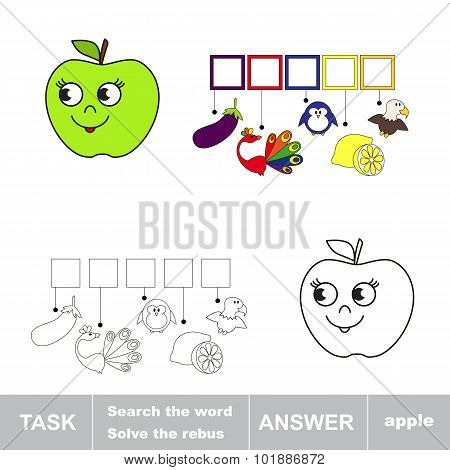 Solve the rebus. Find hidden word APPLE.