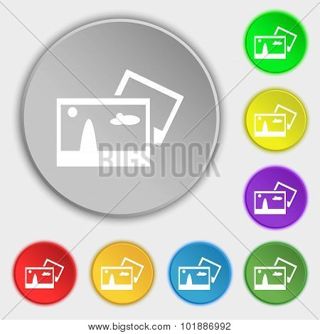 Copy File Jpg Sign Icon. Download Image File Symbol. Symbols On Eight Flat Buttons. Vector