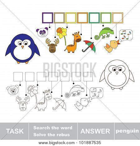 Solve the rebus. Find hidden word penguin.