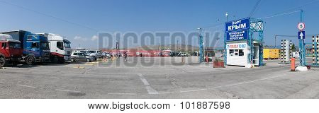 KERCH,RUSSIA-September 11: the cars expecting turn on the ferry,