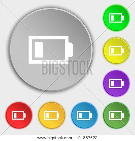 Battery Low Level Sign Icon. Electricity Symbol. Symbols On Eight Flat Buttons. Vector