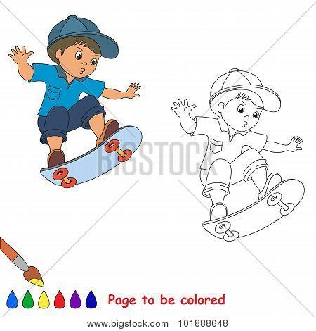 Skateboarding. One baby boy skater on skate.