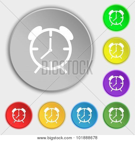 Alarm Clock Sign Icon. Wake Up Alarm Symbol. Symbols On Eight Flat Buttons. Vector