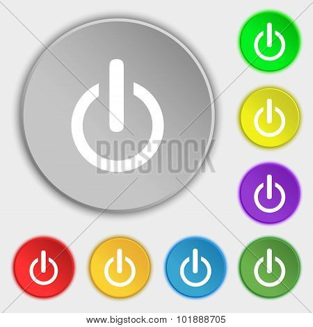 Power Sign Icon. Switch Symbol. Symbols On Eight Flat Buttons. Vector