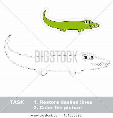 One cartoon green alligator to be traced.