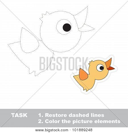 Cartoon bird. Restore dashed line. Color picture.