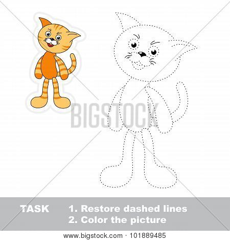 Trace game for children. One cartoon cat to be traced.