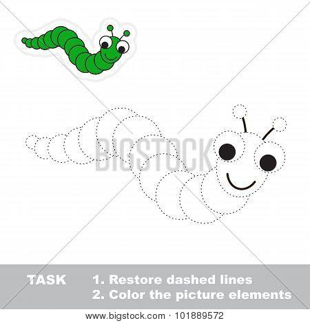 One cartoon funny caterpillar.