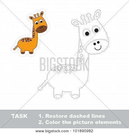 One cartoon funny giraffe.