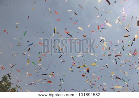 Ticker tape released at an event