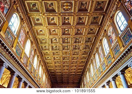 Rome, Italy - October 30: The Main Vault Of The Church Santa Maria Maggiore Is Completely Studded Wi
