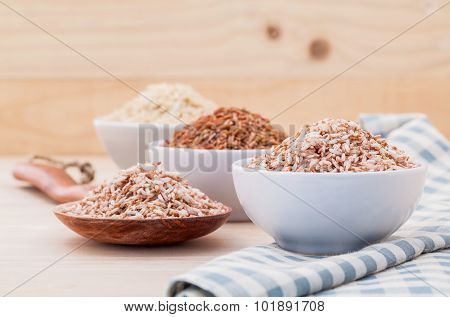 Whole Grain Traditional Thai Rice Best Rice For Healthy And Clean Food In Coconut Wooden Bowl .