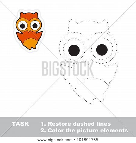 Owl. Restore dashed line and color picture.