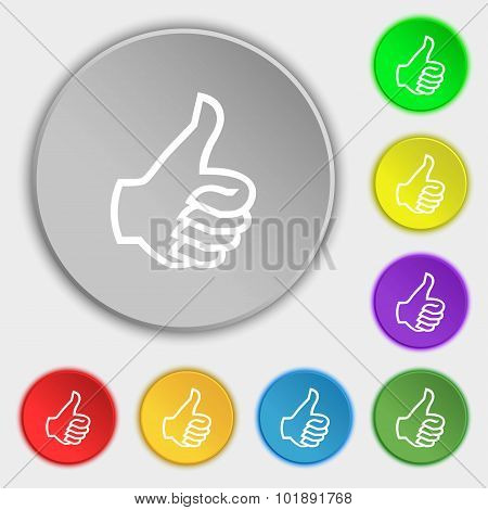 Like Sign Icon. Thumb Up Symbol. Hand Finger-up. Symbols On Eight Flat Buttons. Vector