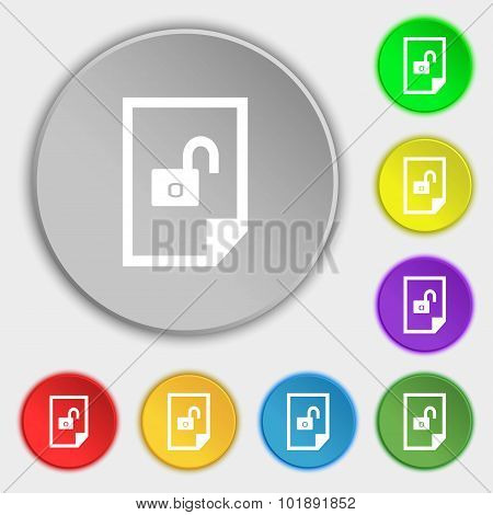 File Locked Icon Sign. Symbols On Eight Flat Buttons. Vector