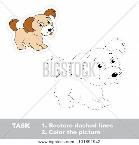 Trace game for children. One cartoon puppy to be traced.