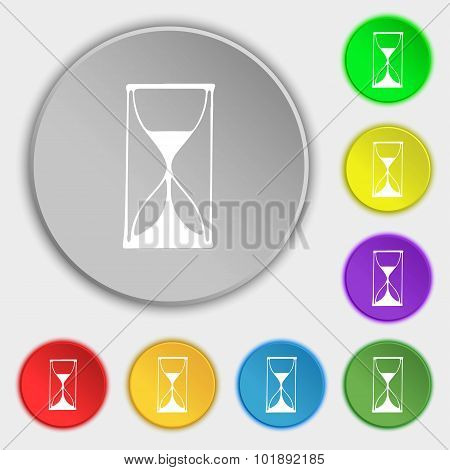 Hourglass Sign Icon. Sand Timer Symbol. Symbols On Eight Flat Buttons. Vector