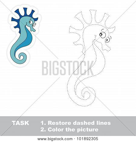 One cartoon seahorse to be traced.