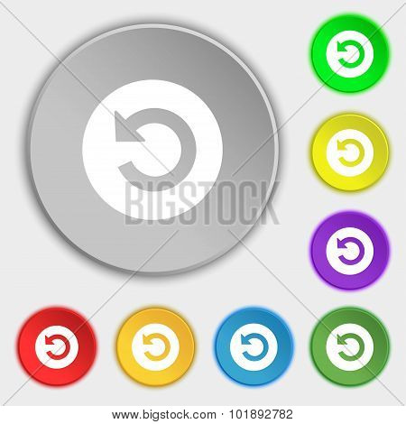 Upgrade, Arrow Icon Sign. Symbols On Eight Flat Buttons. Vector