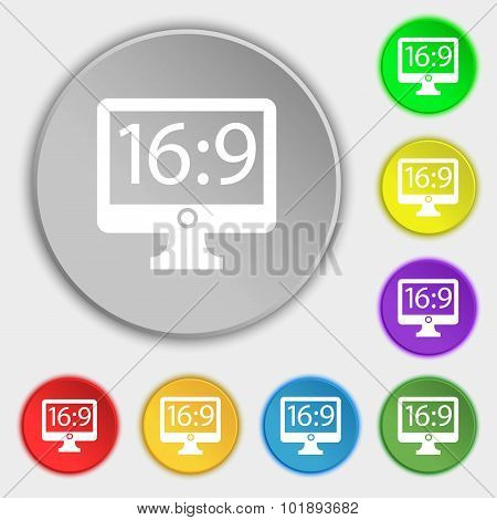 Aspect Ratio 16 9 Widescreen Tv Icon Sign. Symbols On Eight Flat Buttons. Vector