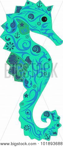 Sea horse with a pattern