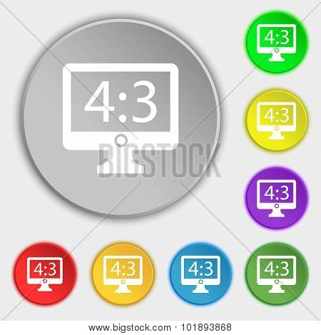 Aspect Ratio 4 3 Widescreen Tv Icon Sign. Symbols On Eight Flat Buttons. Vector