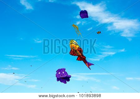 MOSCOW - AUGUST 30, 2015: Big kites in the sky in Tsaritsyno Park on August 30, 2015 in Moscow Big kites in the sky