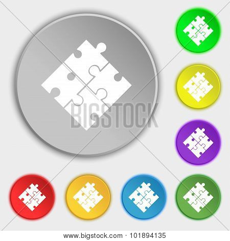 Puzzle Piece Icon Sign. Symbols On Eight Flat Buttons. Vector
