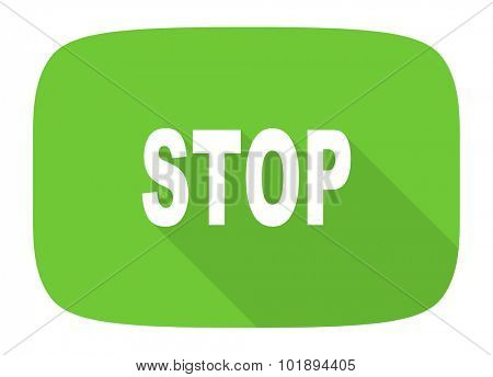 stop flat design modern icon with long shadow for web and mobile app
