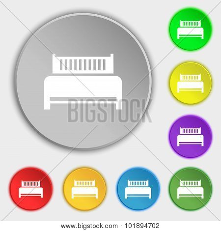 Hotel, Bed Icon Sign. Symbols On Eight Flat Buttons. Vector
