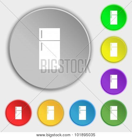 Refrigerator Icon Sign. Symbols On Eight Flat Buttons. Vector