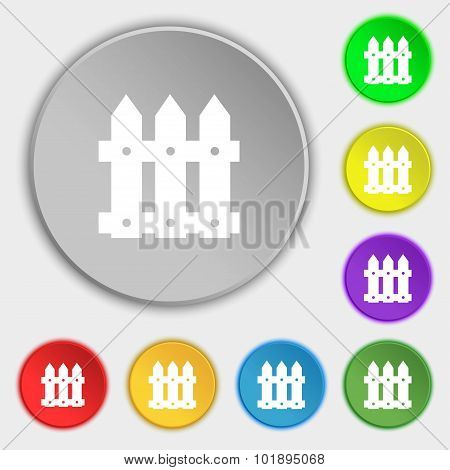 Fence Icon Sign. Symbols On Eight Flat Buttons. Vector