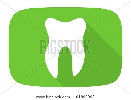 tooth flat design modern icon with long shadow for web and mobile app