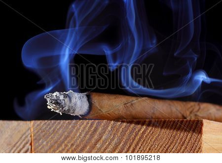 Cigar With Abstract Smoke