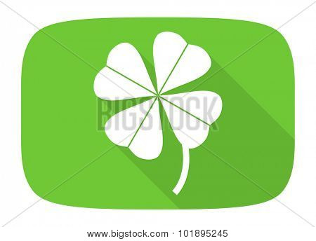 four-leaf clover flat design modern icon with long shadow for web and mobile app