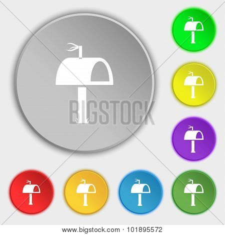 Mailbox Icon Sign. Symbols On Eight Flat Buttons. Vector