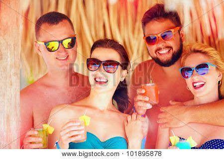 Group Of Happy Friends Having Fun On Tropical Beach,  Holiday Party