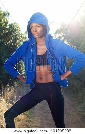 Fitness Woman With Blue Sweatshirt
