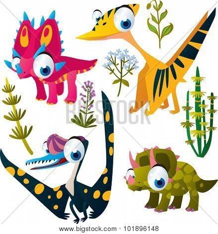 Animal set: vector cute comic dinos: styracosaurus, pterosaurus, pteranodon, triceratops