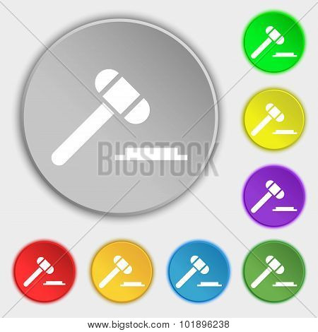 Judge Hammer Icon. Symbols On Eight Flat Buttons. Vector