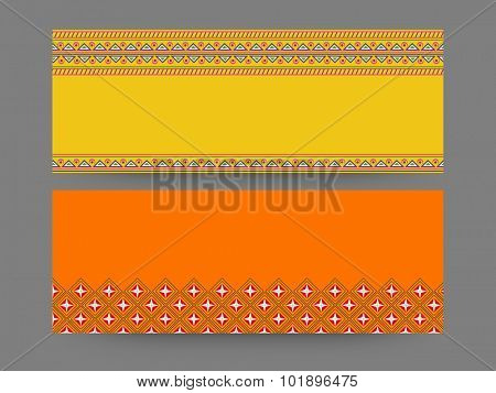 Floral design decorated blank website header or banner set in yellow and orange colors.