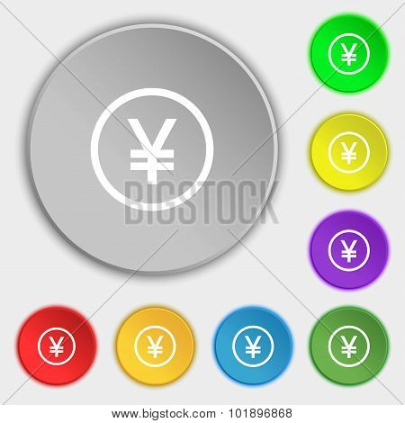 Japanese Yuan Icon Sign. Symbols On Eight Flat Buttons. Vector