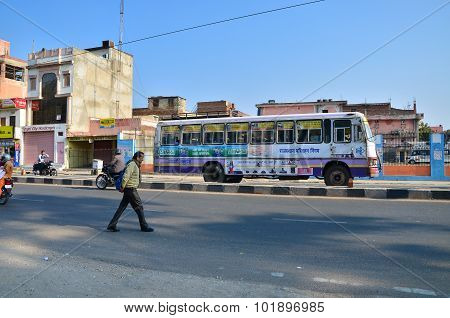 Jaipur, India - December 30, 2014: Indian People On Street In Jaipur