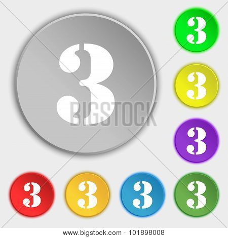 Third Place Award Sign. Winner Symbol. Step Three. Symbols On Eight Flat Buttons. Vector