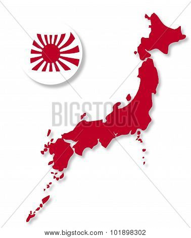 Japanese Flag Sphere And Map