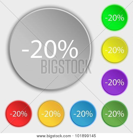 20 Percent Discount Sign Icon. Sale Symbol. Special Offer Label. Symbols On Eight Flat Buttons. Vect
